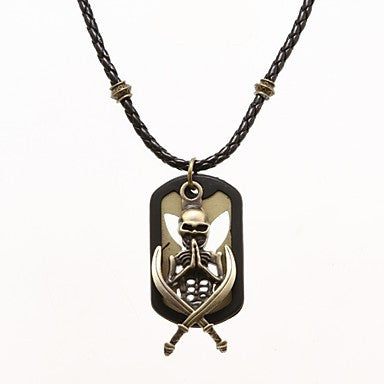 Punk Pierced Board (Skeleton) Black Leather Pendant Necklace (1 Pc)