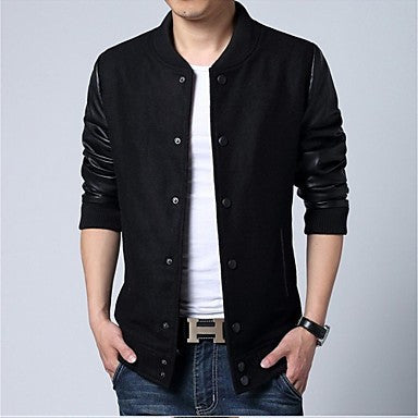 Men's Fashion Casual Single Breasted Long Sleeved Jacket