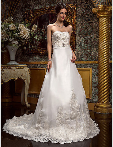 A-line Strapless Sweep/Brush Train Organza Lace Wedding Dress (612381)
