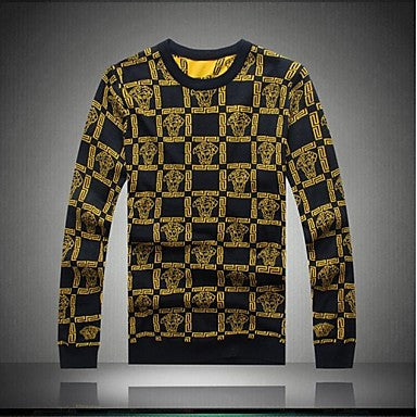 Men's O-neck Knit Thick Line Lattice Sweater