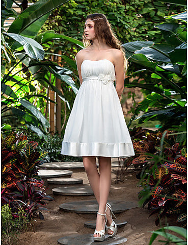 A-line Strapless Knee-length Chiffon And Stretch Satin Wedding Dress (710782)