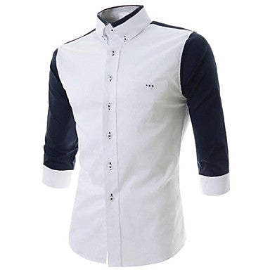 Men's Slim Casual contrast colors 3/4 Sleeve Sleeved Shirt