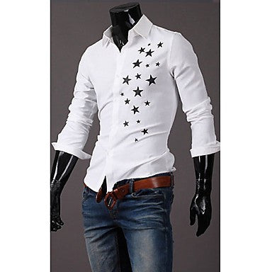 Men's Stand Collar Star Print Shirt