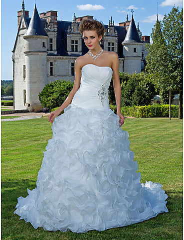 Wedding Dress Ball Gown Chapel Train Organza Strapless With Cascading Ruffles and Beading