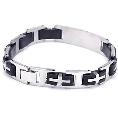 Men's Fashion Personality Titanium Steel Splicing Cross Bracelets