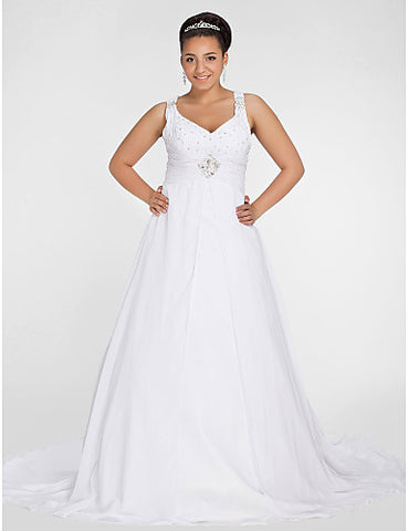 A-line V-neck Chapel Train Chiffon Plus Size Wedding Dress