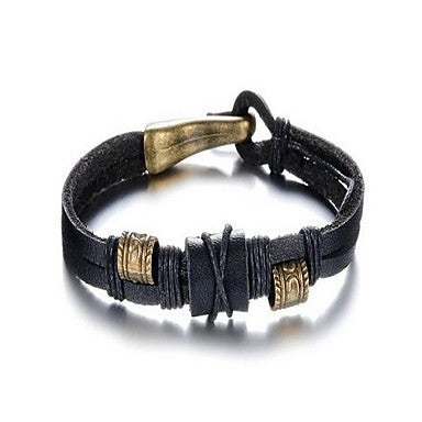 Fashion Men's Rock Style Black Alloy Leather Bracelet(1 Pc)