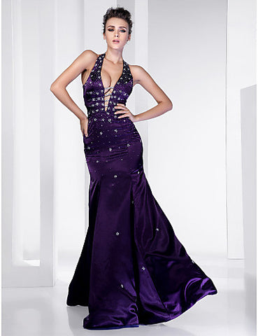 Trumpet/ Mermaid Halter Floor-length Satin Evening Dress