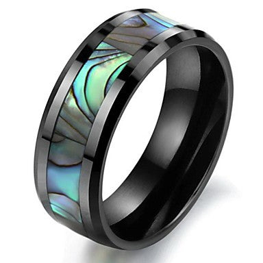 Natural Shell Black Ceramic Ring in Space