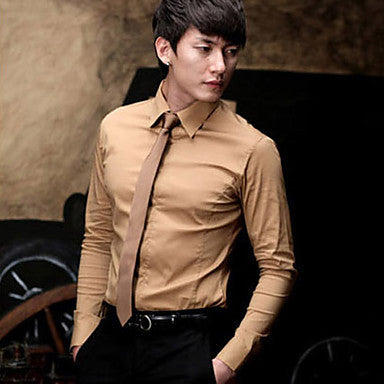 Men's Casual Solid Long Sleeve Shirt