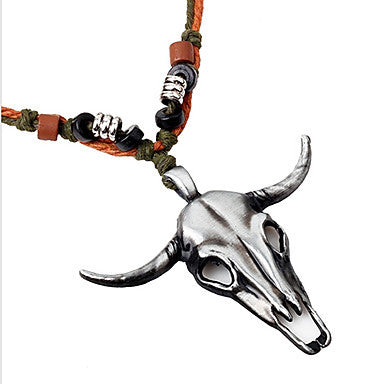 Ethnic Amulet (Antelope Head Pendant) Silver Alloy Pendant Necklace(1 Pc)