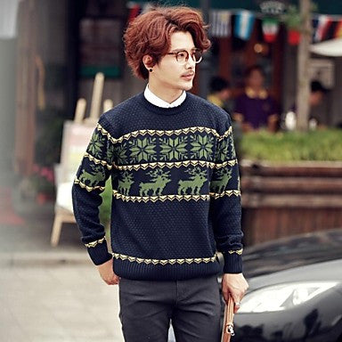 Men's Round Collar Slim Knit Sweaters(More Colors)
