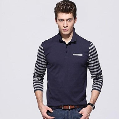 Men's Lapel Long Sleeve Fashion T-shirts
