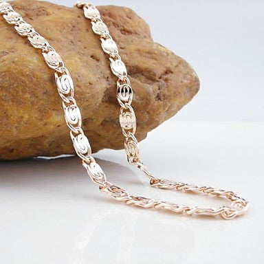 18K CC/585 Gold Plated Rose Gold Copper Necklace 55CM