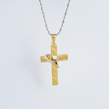 Vintage Titanium Steel Pattern Cross Pendant Necklace