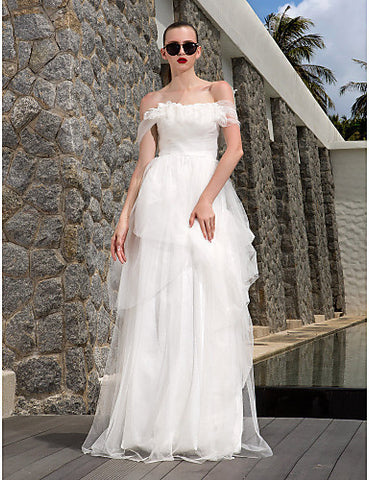 Sheath/Column Off-the-shoulder Floor-length Tulle Wedding Dress (783907)
