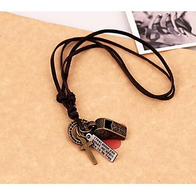 Lureme Vintage Style Leather Whistle Pendant Alloy Necklace