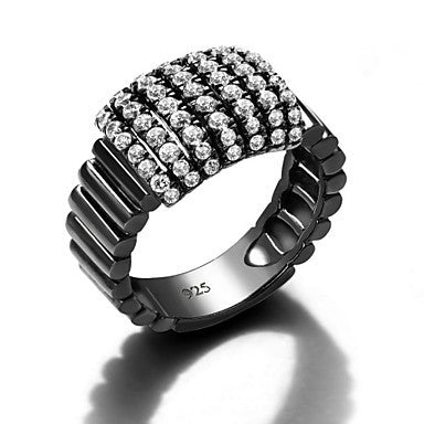 Men's Retro Zirconium 925 Silver Inlaid Black White Diamond Ring