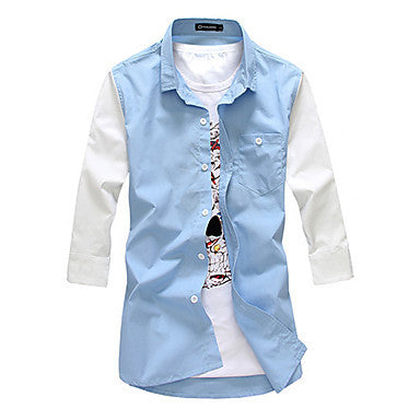 Men's Casual Contrast Color Splicing Shirt