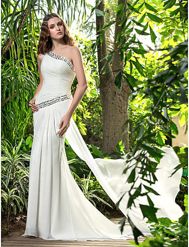 Sheath/Column One Shoulder Sweep/Brush Train Chiffon Wedding Dress (722835)