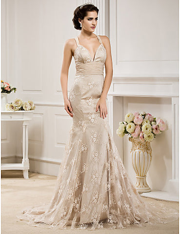Wedding Dress Trumpet Mermaid Court Train Lace and Chiffon V Neck With Bow