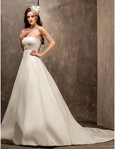 A-line Princess Strapless Sweep/Brush Train Satin And Tulle Wedding Dress (560812)