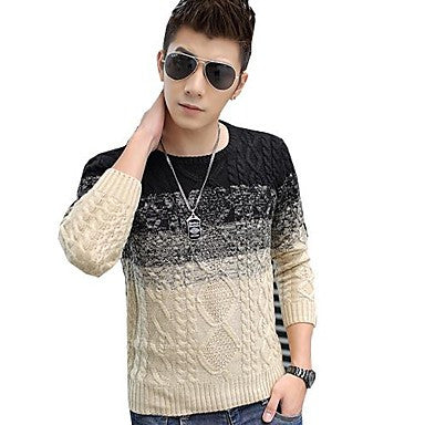 Men's Round Neck Long-Sleeved Thick Sweater