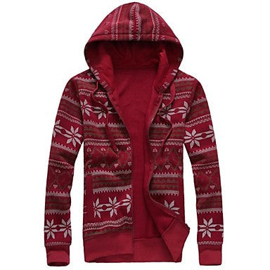 Men's Slim Hoodies Fashion Sweater Print Coat