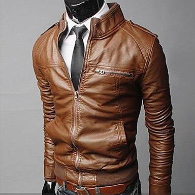 Men's Stand Collar Slim Motorcycle Jacket