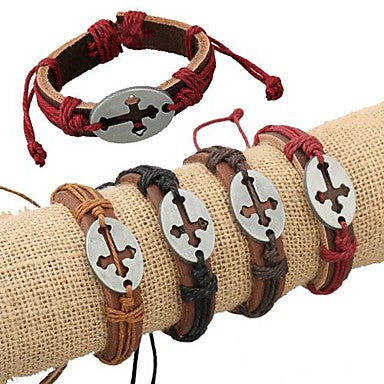 Europe Fashion Punk Style Hollow Cross Leather Bracelet