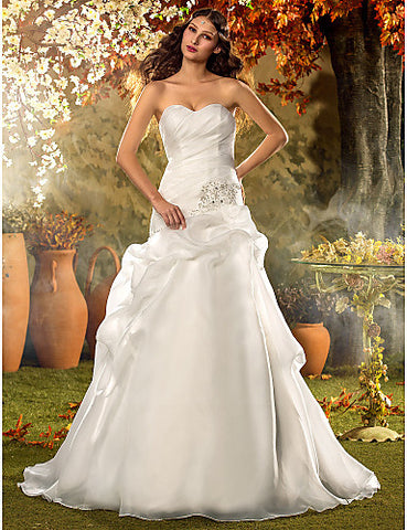 A-line Princess Sweetheart Court Train Organza Wedding Dress (604660)