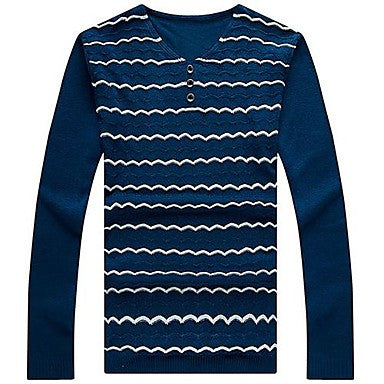 Men's Clothing Corrugated Long Sleeve Knit Sweater