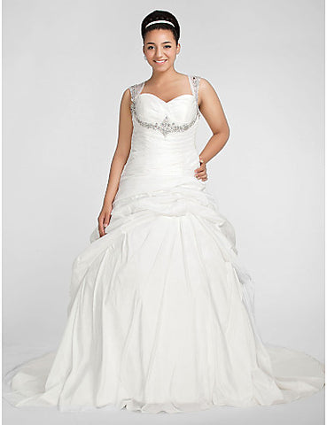 Ball Gown Sweetheart Chapel Train Taffeta Plus Size Wedding Dress