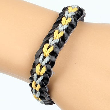 Comfortable Adjustable Men's Leather Soft Bracelet Yellow Light Blue Braided Leather(1 Piece)