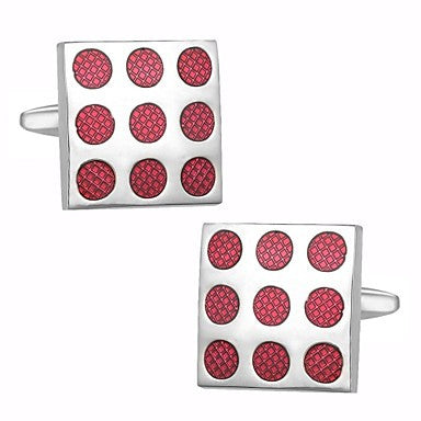 Mens Classic New Sliver Enamel Red Square Formal Business Wedding Shirt Cufflinks Cuff Link Gift Present