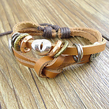 Classic 17Cm Men's Coffee Leather Bracelet(Coffee)(1 Pc)