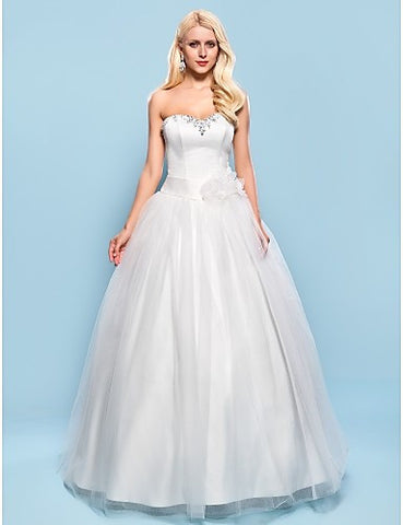 Ball Gown Sweetheart Floor-length Satin And Tulle Wedding Dress