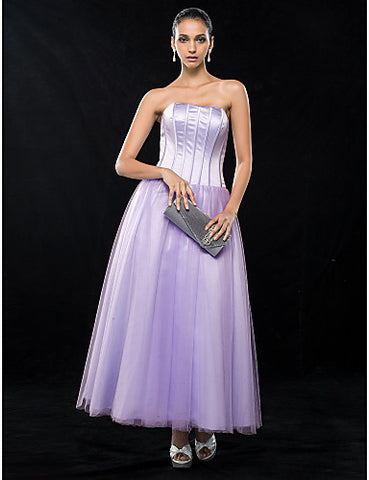 A-line Strapless Ankle-length Satin And Tulle Evening Dress
