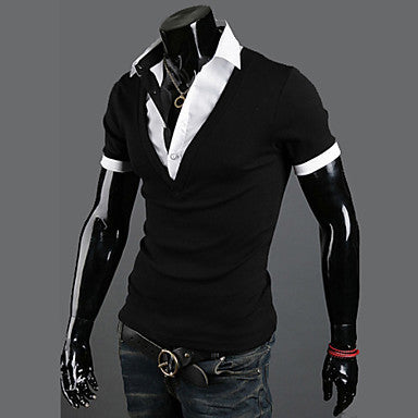 Men's Contrast Color Simple Shirt