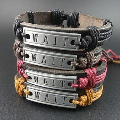 Fashion 4 Colors Vintage Wait Letter Charms Hemp Rope Women Men Leather Bracelet