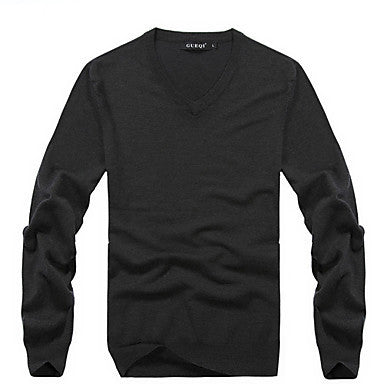 Men's Contrast Color Round Collar Sweater