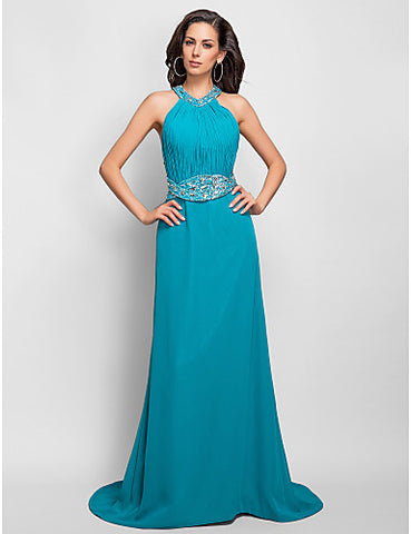 Sheath/Column Halter High Neck Chiffon Floor-length Evening Dress