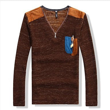 Men's V Neck Slim Casual Long Sleeve Sweaters(More Colors)