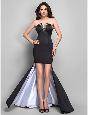 Trumpet/Mermaid V-neck Asymmetrical Beading Satin Evening Dress