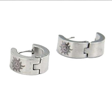 Men's Personality The Sun God Silver Titanium Steel Earrings