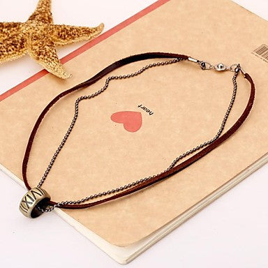 European Trendy Ring Leather Pandant Necklace(1pc)