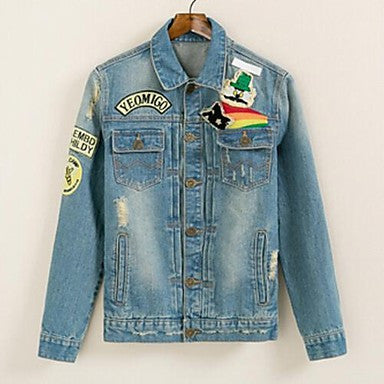 Men's New Winter Self-Cultivation Washing Moustache Vintage Denim Jacket
