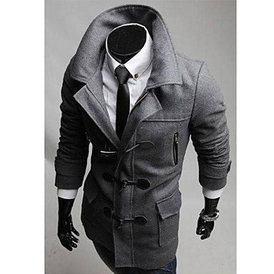Men's Fashion Outerwear with Hat Woollen Coat Horn Button Slim