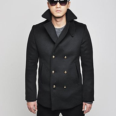 Men's Lapel Double Breasted Tweed Coat