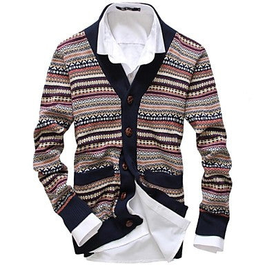 Men's Lapel Hit Color National Wind Fashion Knit Cardigan